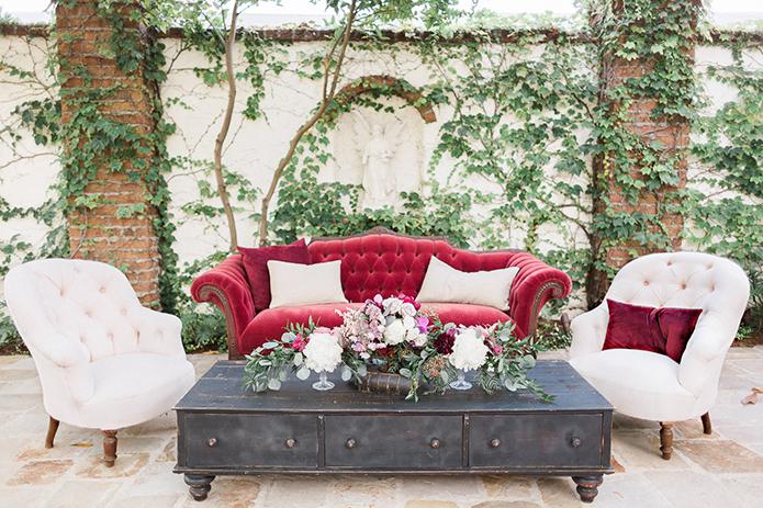 red velvet thema bruiloft fluweel rood