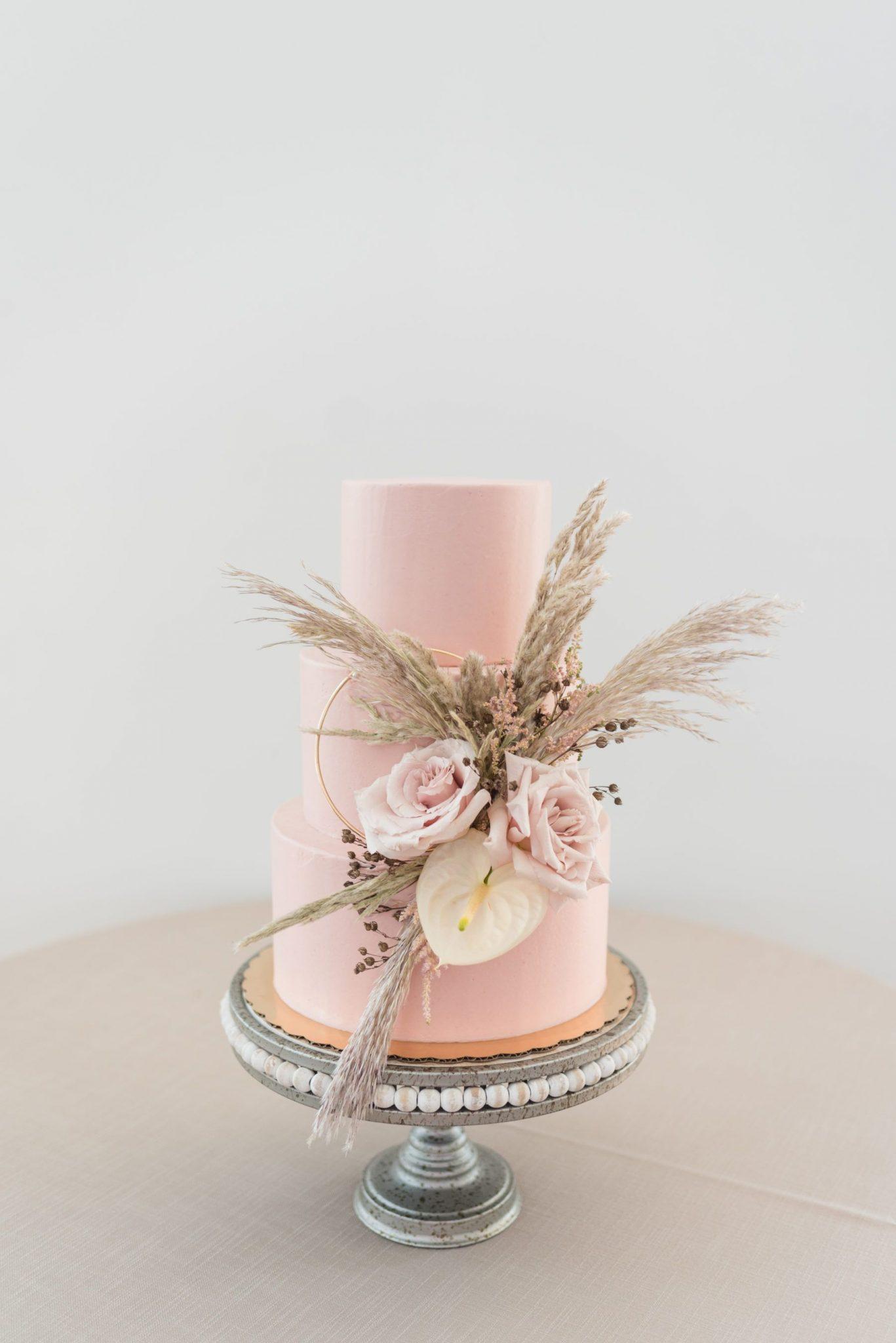 thema bruiloft pink pampas
